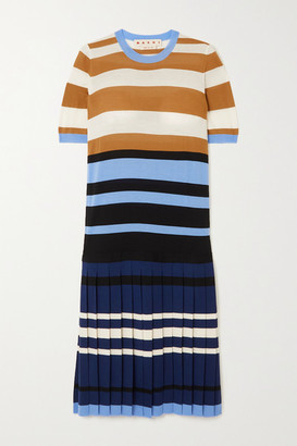 Marni Pleated Striped Wool Dress - Blue