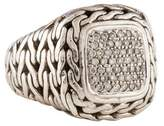 John Hardy Diamond Square Classic Chain Ring