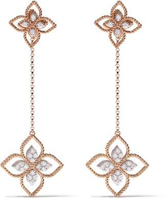 Roberto Coin 18kt rose gold Princess Flower diamond modular earrings