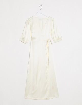 Vila satin midi wrap dress in cream