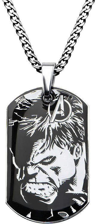 JCPenney FINE JEWELRY Marvel Hulk Mens Stainless Steel and Black IP Dog Tag Pendant Necklace