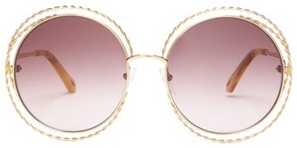 Chloé Carlina Round Metal Sunglasses - Womens - Purple Gold