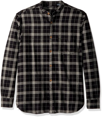 French Connection Men's Worsted Wool Check Button Down Shirt