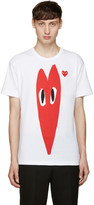 Comme des Garcons White Stretch Heart T-Shirt