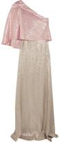 Roland Mouret Harrington One-shoulder Silk-blend Lamé Gown - UK10