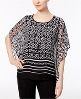Alfred Dunner Petite Medallion-Print Top with Necklace