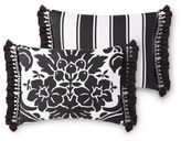 Rose Tree Symphony Oblong Throw Pillow in Black/White
