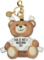 Moschino Printed Textured-leather Keychain - Brown