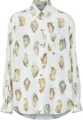 Burberry Oyster-Print Pearl-Embellished Shirt