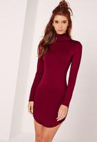 Missguided Curve Hem Turtle Neck Bodycon Dress Burgundy