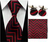 Quality Connection Traditional Classic Matching Tie, Cufflink and Pocket Square - 4 Piece Elegant Set - Black and Red Chevron Design
