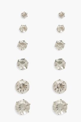 boohoo 6 Pack Diamante Earrings