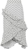 Altuzarra Tucson Ruffle-trimmed Printed Silk Crepe De Chine Skirt - White