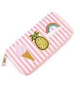 Riah Fashion Pink Patch Zipper Wallet