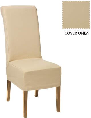 OKA Echo Dining Chair - Dark Wood & Cotton Slip Cover - Oatmeal