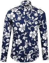 APTRO Men's 100% Cotton Long Sleeve Floral Shirt Blue Flower Printing Shirt XXXL