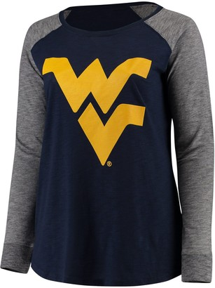 Unbranded Women's Navy/Charcoal West Virginia Mountaineers Plus Size Preppy Elbow Patch Slub Long Sleeve T-Shirt