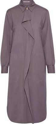 Agnona Ruffled Wool And Cashmere-blend Twill Shirt Dress
