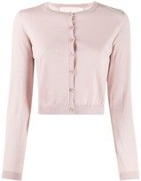 RED Valentino cropped ribbed crew neck cardigan