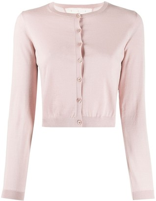 RED Valentino cropped ribbed crewneck cardigan