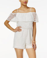 Ultra Flirt Juniors' Ruffle Lace Off-The-Shoulder Romper