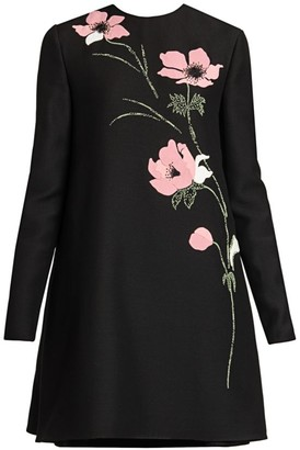 Valentino Crepe Couture Embroidered Floral Wool & Silk Shift Dress