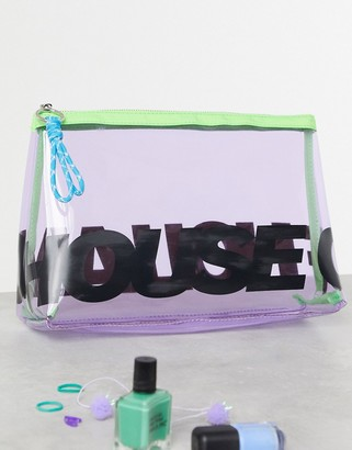 House of Holland Logo Wash Bag In Purple