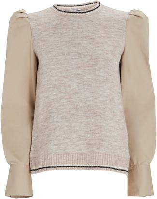 Derek Lam 10 Crosby Milton Mixed Media Sweater