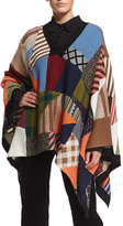 Chloé Patchwork Knit Poncho, Multi Colors