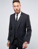 Farah Skinny Suit Jacket In Black