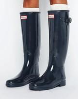 Hunter Refined Gray Gloss Wellington Boots