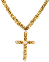 Buccellati 18K Byzantine Chain with Diamond Cross Pendant