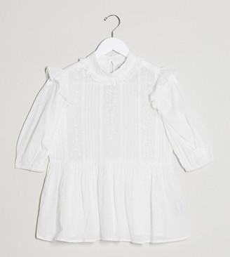Reclaimed Vintage inspired high neck blouse with pin tuck and embroidery in white