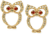 Betsey Johnson Gold-Tone Pavé Owl Stud Earrings
