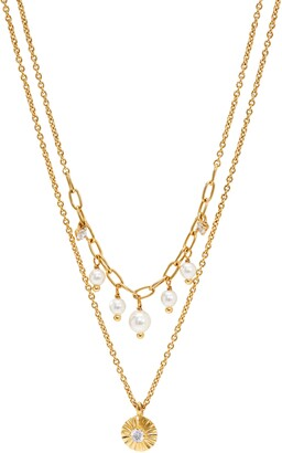 AJOA Layered Imitation Pearl Pendant Necklace