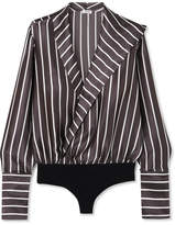 Alix - Reade Wrap-effect Striped Silk-satin And Jersey Bodysuit - Anthracite