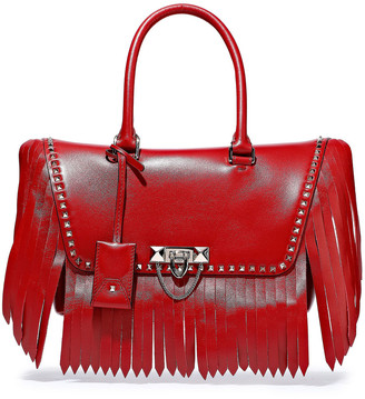 Valentino Demilune Fringed Studded Leather Tote