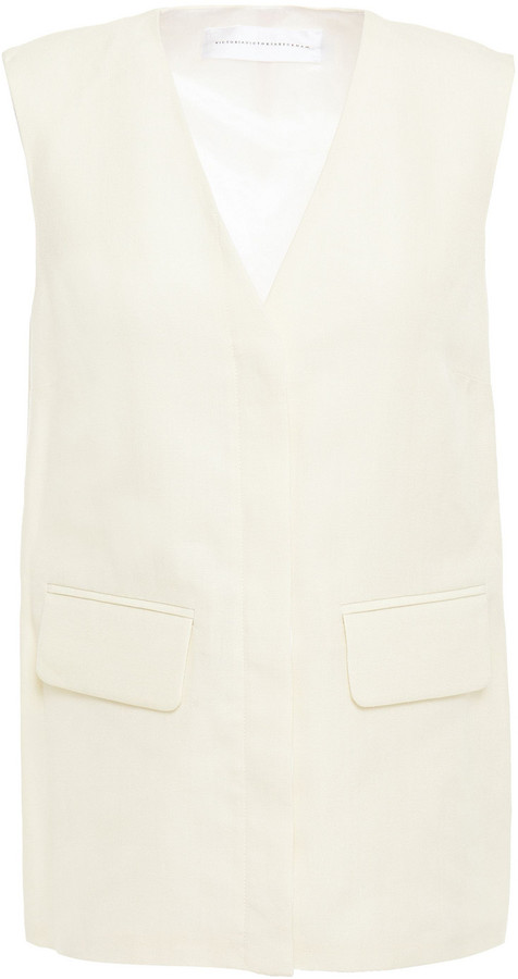 Victoria Victoria Beckham Paneled Satin-crepe And Woven Vest