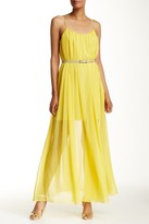 Halston Belted Sheer Overlay Maxi Dress