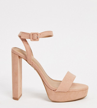 ASOS DESIGN Wide Fit Natasha platform barely there heeled sandals in beige