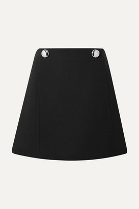 Prada Embellished Wool Mini Skirt - Black