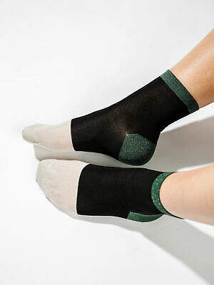 Hysteria By Happy Socks New Womens Liza Ankle Socks In Black Green Socks Festival