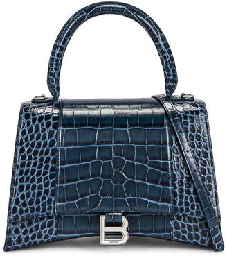 Balenciaga Medium Hourglass Top Handle Bag in Denim Blue | FWRD