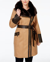 Via Spiga Plus Size Faux-Fur-Collar Asymmetrial Belted Coat