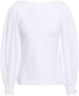 Mother of Pearl Jersey-paneled Organic Cotton-blend Poplin Top