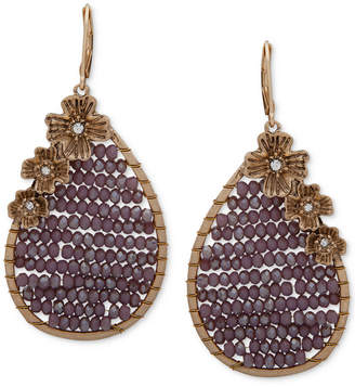 lonna & lilly Gold-Tone Floral & Beaded Teardrop Earrings