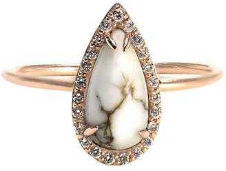 BONDEYE JEWELRY 14kt rose gold diamond Tear ring