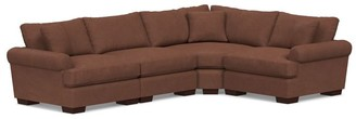 Pottery Barn Sullivan Deep Roll Arm Leather 4-Piece Reversible Wedge Sectional