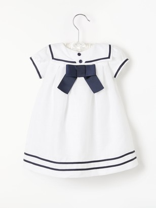 John Lewis & Partners Baby Linen Sailor Dress, Cream