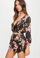 Missguided Black Floral Print Satin Shorts